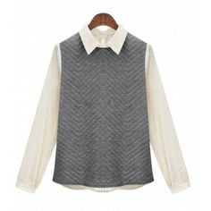 Gray Womens Peter Pan Collar Button Long Sleeve Patchwork Tops Blouse Shirts