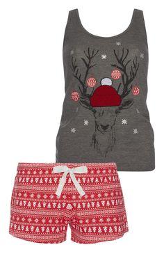 Primark - Kerstpyjama grijs shirt en rode short