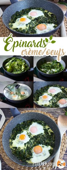Add some eggs to your creamed spinach for dinner ! - Recipe Main Dish : Creamed spinach with eggs by PetitChef_Official Vegetarian Recipes, Healthy Recipes, Creamed Spinach, Party Food And Drinks, Watermelon Recipes, Food Videos, Food Inspiration, Breakfast Recipes, Easy Meals