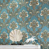 Série luxo damasco desenhos papel de parede 3d quarto papel de parede para o fundo do sofá papel de parede 3d moderno