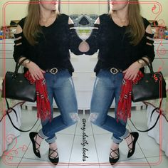 Calça jeans skiny rasgada + tricot preto