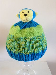 Hand Knit Child's Hat with Cheeky Monkey by RainbowsnmoreCrafts