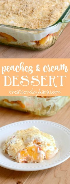 Layered Peaches and Cream - fresh peaches with a fluffy cream cheese layer and cookie crumbs. A perfect dessert for fresh peach fans! via creationsbykara.com #peachesandcream #peachdessert #peaches