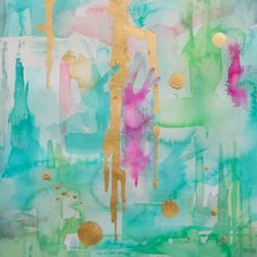 "Abstract Art Print of Watercolor, Aqua - ""Mint Macaroon"",  Wall Art, Reproduction, Various Sizes"