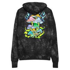 Magic mushrooms unisex champion tie-dye hoodie Star Magic, T Shirt Photo, Moon Print, Athleisure Outfits, Tie Dye Hoodie, White Jersey, Custom Tees, Me As A Girlfriend, Clothing Items