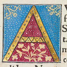 "Decorated initial ""A"" in Scriptores historiae Augustae."