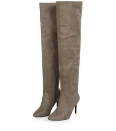 Grey Pointed Over The Knee Heeled Boots