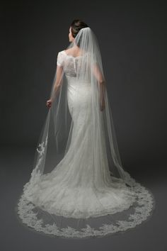 "Chapel length veil with Chantilly lace border.  ""Swirl"""