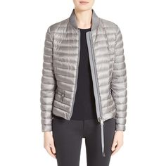 Women's Moncler Blen Down Jacket ($995) ❤ liked on Polyvore featuring outerwear, jackets, charcoal, down jacket, moncler, moncler jacket, down filled jacket and charcoal jacket