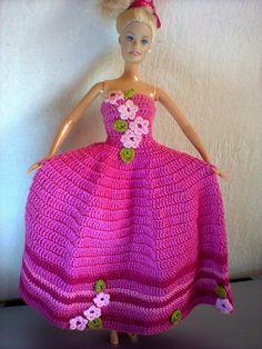 Vestido boneca Barbie - by Noéli Almeida Crochê