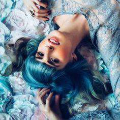 Instagram @hairbymisskellyo Photo by Teri Hofford, vintage hair, grey hair, silver hair? wedding hair , wedding, bride, bridesmaid hair, pravana, pastelhair, bluehair, tealhair, 2015 Summer hair trends, haircolour, behind the chair, hairstylist, colour trends, updo, hairstyle, bangs, flowercrown, modernsalon, beauty, balayage, bright hair, dyed hair, mermaidhair, mermaid, unicorn hair, my little pony