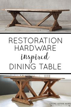 Restoration Hardware Inspired Dining Table - - Create a Restoration Hardware rustic dining table in a weekend with our complete, step by step plans & save THOUSANDS on your own farmhouse dining table. Farmhouse Table Plans, Modern Farmhouse, Outdoor Farmhouse Table, Farmhouse Decor, Farmhouse Kitchen Tables, Restoration Hardware Dining Table, Diy Esstisch, Diy Dining Room Table, Dining Tables