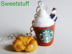 polymer clay food charms - starbucks