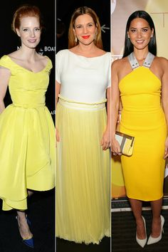 Trend Spotting! |  Jessica Chastain was a breath of fresh air in a bright yellow Oscar de la Renta dress at the 2014 National Board of Review Gala in New York City on January 7, while Drew Barrymore dressed up her baby bump in a cute white-and-yellow Vionnet dress at the People's Choice Awards on January 8 in Los Angeles. Finally, Olivia Munn sported the hot hue with this Victoria Beckham halter dress at Variety's Breakthrough of the Year Awards on January 9 in Las Vegas.