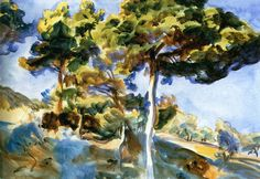 Trees and Rocks by a Stream (John Singer Sargent)