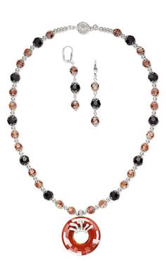Single-Strand Necklace and Earring Set with SWAROVSKI ELEMENTS, Silver-Plated Brass Bead Caps and Antiqued Silver-Plated Pewter Bail