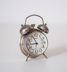 Vintage miniature mechanical alarm clock with by CuteOldThings, $34.00