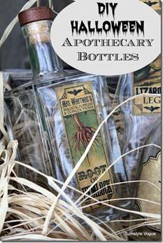 DIY Halloween Apothecary Bottles