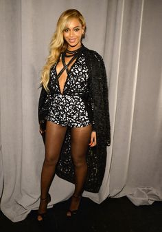 Beyonce in a Laquan Smith jumpsuit and jacket, Jimmy Choo shoes and Lorraine Schwartz jewels at the launch of Jay Z's new streaming service, Tidal