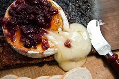 Planked Brie with Amaretto-Peach Chutney & Cranberry Conserve by Another Pint Please...