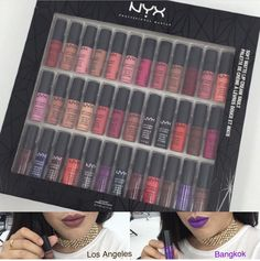 "⚡️UPDATE⚡️ The Nyx Cosmetics Soft Matte Lip Cream Vault includes 36 shades and two of them are NEW "" Los Angeles"" and ""Bangkok"" $64 Will Be Available September 6th online at Nyx Cosmetics and coming to ULTA soon!"
