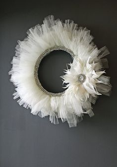 White Christmas -- Tulle wreath with feather ornament and rhinestones