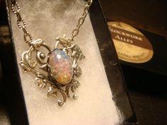 Fire Opal Heart Vine Necklace in Antique Silver  by ClockworkAlley, $23.00