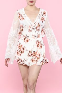 Floral romper with long bell-cut lace sleeves.   Floral Romper by Flying Tomato. Clothing - Jumpsuits & Rompers - Rompers Palm Beach, Florida
