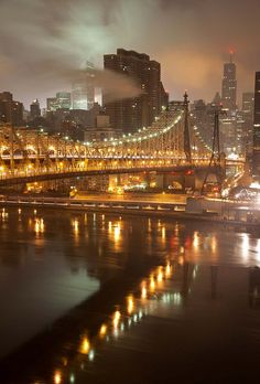 The Manhattan skyline in misty night, featuring the Queensboro Bridge, New York