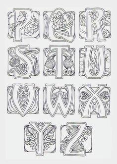 Art Nouveau Alphabet ~ This may be from Judy Balchin's' book - 3 of 3 Motifs Art Nouveau, Design Art Nouveau, Motif Art Deco, Art Nouveau Pattern, Jugendstil Design, Calligraphy Letters, Illuminated Letters, Colouring Pages, Line Art