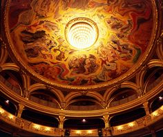 andre masson's painted ceiling at the theatre odeon in paris