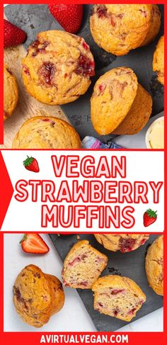 Bakery-style Vegan Strawberry Muffins that are packed with sweet strawberry flavour. These soft and fluffy muffins have bursts of fruit and jamminess in every bite thanks to a combination of fresh strawberries and strawberry jam that gets swirled through the batter! A must for your vegan baking!