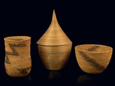 Africa | 3 baskets from the Tutsi people of Ruanda | Vegetal fiber and natural pigment dyes.