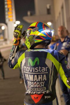 Rossi with LED on the back of his helmet.... At Qatar