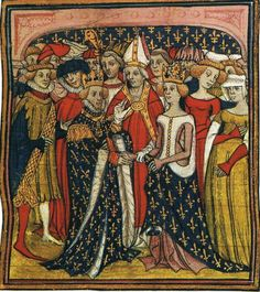 Grandes Croniques de France. Circa 1400. A great example of a very royal corset fendu. Two women in beautiful cottehardies (one in a very interesting white bonnet (?)). Men in houppelandes. And again one guy in huque (green one).