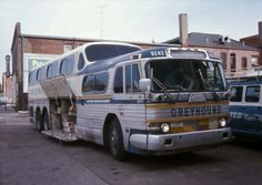 Greyhound Bus (1950s). PD4501, some had twin 4 cylinder Detroit's, one on each side of the engine compartment.