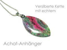 Kette Achat versilbert von DeineSchmuckFreundin - Schmuck und Accessoires auf DaWanda.com
