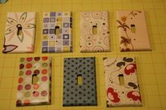 Decorating switch plates with scrap-booking paper! Diy Craft Projects, Crafts To Make, Diy Crafts, Craft Ideas, Baby Clothes Dividers, Dyi Decorations, Fabric Covered Walls, Diy Holiday Gifts, Light Crafts
