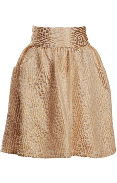 Loeffler Randall gold skirt... Would be fab with a black silk turtleneck or silk blouse.