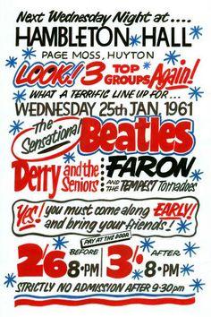 The Beatles Hambleton Hall Huyton Concert Poster 1961 Vintage Concert Posters, Music Posters, Beatles Poster, The Beatles, Vintage Rock, Vintage Music, Liverpool Town, John Lennon Paul Mccartney, Ticket Stubs