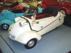 "1964 Messerschmitt KR200 Roadster. By the early '60s it was no longer proper to be seen in a ""mobil"" trailing blue smoke. Demand fell. The last Messerschmitt to come off the line in August, 1964 was # 80,287. This car is #80,286- making it the second last Messerschmitt built."