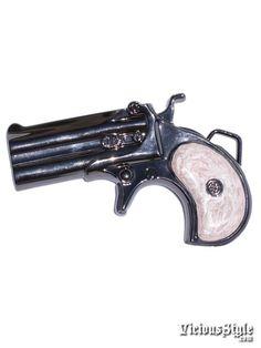 Image detail for -Derringer Gun Belt Buckle Pink Black Vicious Style Buckles