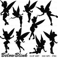 Tinkerbell Silhouettes Clipart Clip Art Digital by BelowBlink: