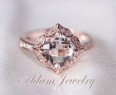Floral Design 7mm VS  Morganite Ring 14K Rose Gold by AdamJewelry, $560.00
