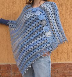 Poncho Crochet Womens ponchos Bluegrey by SandMKnittingDesigns, $63.00