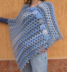 Poncho Crochet Womens ponchos Bluegrey by SandMKnittingDesigns, $63.00