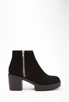 Zippered Genuine Suede Booties   Forever 21   #stepitup
