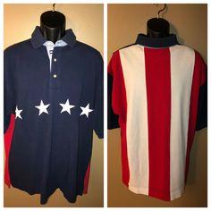 a6e47696 Details about VTG Tommy Hilfiger Golf Polo Shirt Stars Stripes FLAG Fripp  Island Course Size L
