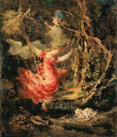 Adolphe Jos.Th. Monticelli - En el columpio. Art History, Artist, Paintings, Google, Swings, Hammocks, Art Types, Impressionism, Artworks
