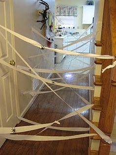 Thought of this earlier and glad I found someone who had the same idea with pics! :) Have guests either chop through it or avoid touching the webs and 'waking the spiders'! :D